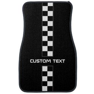 Checkered Stripe Car Floor Mats - with custom text Car Floor Mat