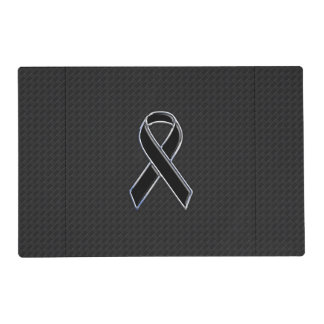 Checkered Style Black Ribbon Awareness Placemat