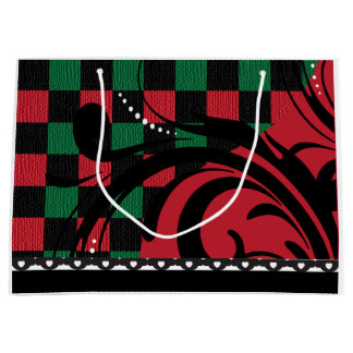 Checkered Swirl Design | Black, Red and Green Large Gift Bag
