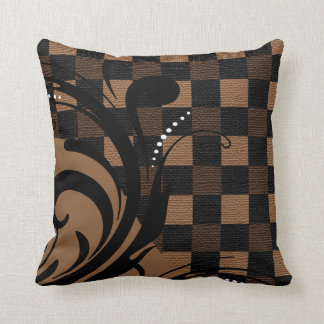 Checkered Swirly Pattern | Brown, Tan, Black Throw Pillow