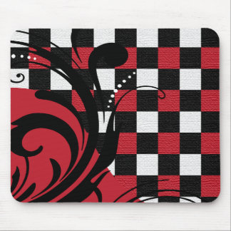 Checkered Swirly Pattern | Dark Red, White, Black Mouse Pad