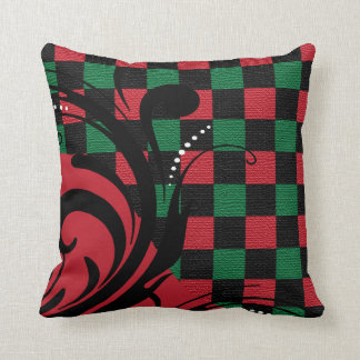 Checkered Swirly Pattern | Green, Red, Black Throw Pillow