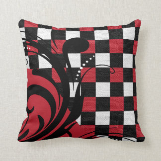 Checkered Swirly Pattern | Red, White, Black Pillow