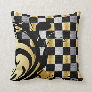 Checkered Swirly Pattern | Silver, Gold, Black Throw Pillow