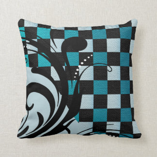 Checkered Swirly Pattern | Turquoise Blue Throw Pillow
