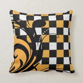 Checkered Swirly Pattern | White, Gold, Black Throw Pillow