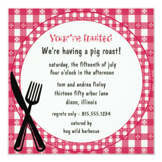 Checkered Tablecloth Party Invitation
