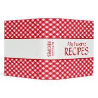 Checkered Tablecloth Recipe Binder binder