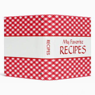 Checkered Tablecloth Recipe Binder