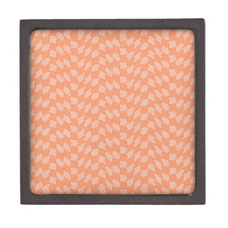 Checkered Tangerine Wave Pattern Keepsake Box