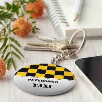 Checkered taxi monogram basic round button keychain