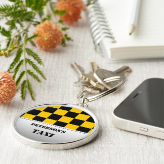 Checkered taxi monogram Silver-Colored round keychain