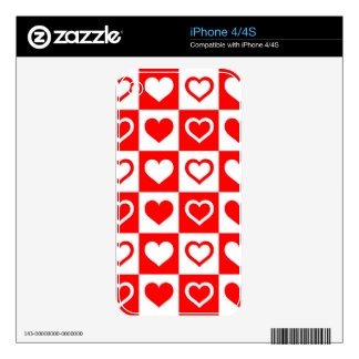 Checkered Tile Hearts Decals For iPhone 4S