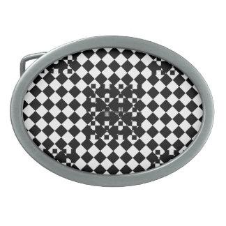 Checkered Twist Oval Belt Buckles