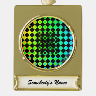 Checkered Twist Gold Plated Banner Ornament