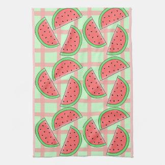 checkered watermelon kitchen towel