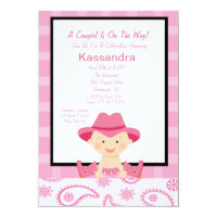 Checkered, Western Cowgirl Baby Shower Invitation