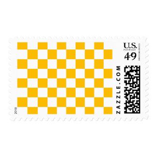 Checkered - White and Amber Postage Stamps