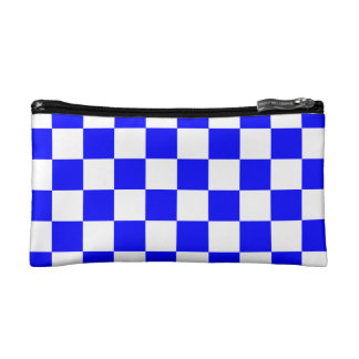 Checkered - White and Blue Cosmetic Bag