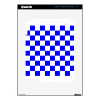Checkered - White and Blue Skins For iPad 3