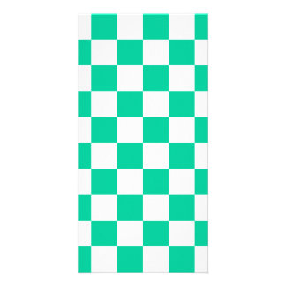Checkered - White and Caribbean Green Card