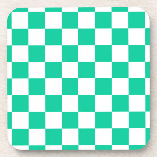 Checkered - White and Caribbean Green Beverage Coaster