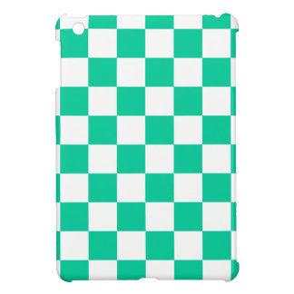 Checkered - White and Caribbean Green iPad Mini Cover