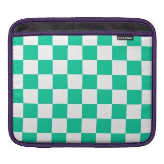 Checkered - White and Caribbean Green iPad Sleeves