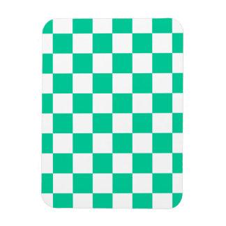Checkered - White and Caribbean Green Rectangular Photo Magnet