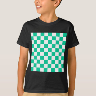 Checkered - White and Caribbean Green T-Shirt