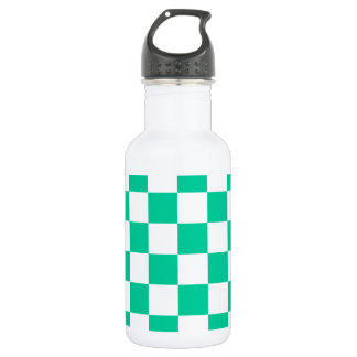 Checkered - White and Caribbean Green Water Bottle