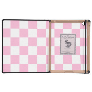Checkered - White and Cotton Candy iPad Cover