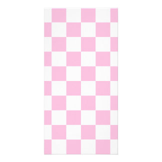 Checkered - White and Cotton Candy Personalized Photo Card
