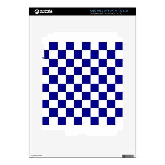 Checkered - White and Dark Blue Skin For iPad 3