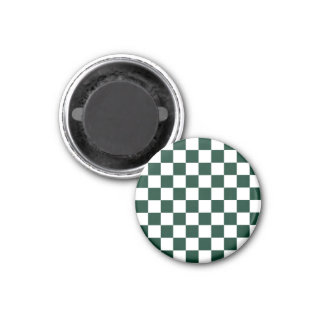 Checkered - White and Dark Green 1 Inch Round Magnet
