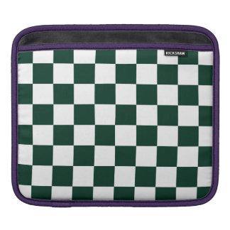 Checkered - White and Dark Green iPad Sleeves