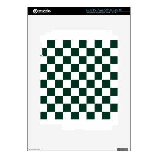 Checkered - White and Dark Green Skins For iPad 3
