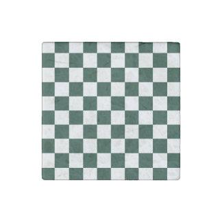 Checkered - White and Dark Green Stone Magnet