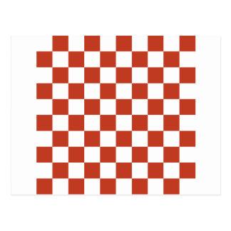 Checkered - White and Dark Pastel Red Postcard