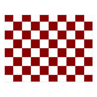 Checkered - White and Dark Red Postcard