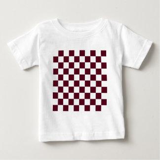Checkered - White and Dark Scarlet Baby T-Shirt