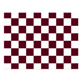 Checkered - White and Dark Scarlet Postcard
