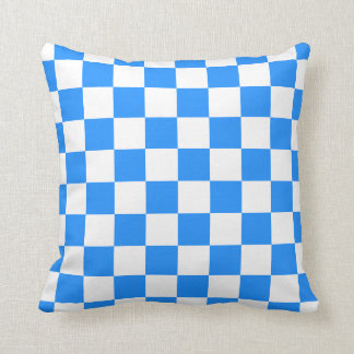 Checkered - White and Dodger Blue Throw Pillow