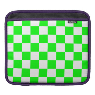 Checkered - White and Electric Green iPad Sleeve