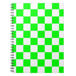 Checkered - White and Electric Green Notebook