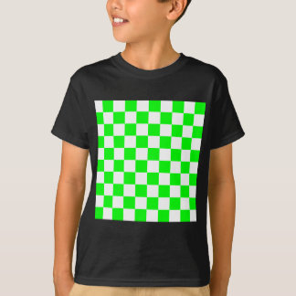 Checkered - White and Electric Green T-Shirt