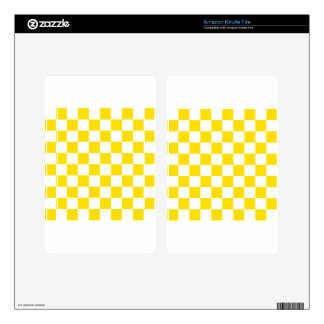 Checkered - White and Golden Yellow Decal For Kindle Fire