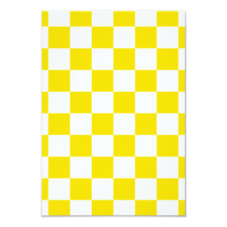 Checkered - White and Golden Yellow 3.5x5 Paper Invitation Card