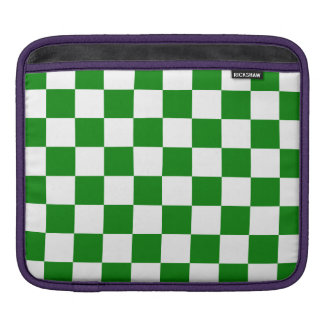 Checkered - White and Green Sleeve For iPads
