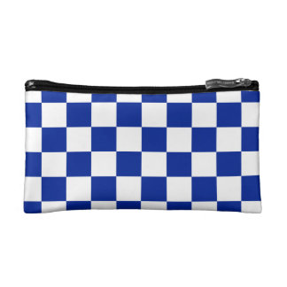 Checkered - White and Imperial Blue Makeup Bag